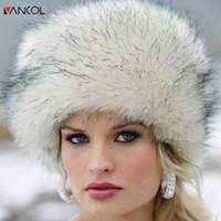 Wholesale fur ushanka - Wholesale- Vancol 2016 Fashion Thick Warm Round Flat Female Snow Cap Faux Fox Fur Beanie Cap Women Winter Russian Hat Ushanka