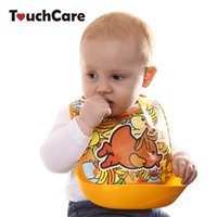 Wholesale Duck Bibs - Wholesale- Cute Cartoon Animal Duck Printed Baby Bibs Infant Removable Pocket Safety EVA Bib Burp Toddler Clothes Accessories