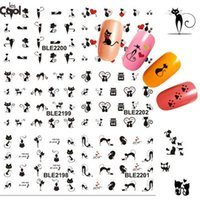 Wholesale Nail Decals Ble - Wholesale- 1sheet Black Sexy Cat Design Manicure Foil Printing Wraps Water Transfer Stickers Nail Art Polish Decals DIY nail tools #BLE