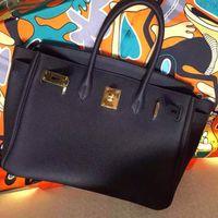 Wholesale Golden Bags Women - top quality 100% full handmade women classic black colour leather with golden chain handbag,women size 35 leather luxury shoulder bag