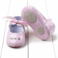 Wholesale First Diamonds - Wholesale- Toddler Baby Girl First Walkers Soft Diamond Princess Shoes Prewalker Sneaker 0-12M