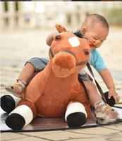 Wholesale Cute Stuffed Horse Toys - 130cm Cute Large Simulated Animal Horse Toy 51'' Big Soft Stuffed Lying Horses Toys Kids Play Doll Baby Present
