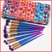 Wholesale Hair Hands Diamonds - Factory Direct DHL Free Spiral Makeup Brush Set 10pcs set Make Up Brushes Eyebrow Eyeliner Powder Brushes Tools with Diamond Hand Bag