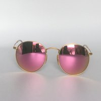 Wholesale Round Style Glasses For Men - Round Metal Sunglasses Retro Style Sunglasses for Men Women Soscar 3447 Brand Designer Sunglasses Flash Mirror Lenses 50mm with Leather Box