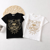 Wholesale Wholesale Tiger Tee - Tiger printing Children T Shirts Fashion cotton embroidery Boys T-Shirt kids Tops Short Sleeve Toddler Shirt best Cotton Tee Shirt A600