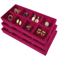 Wholesale Rose Jewelry Rings - 3Pcs High Quality Velvet Jewelry Display Tray Ring Earring Storage Box Removable 8 Grid Earring Organizer Display Tray Rose Red 11*22*3cm