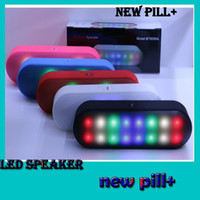 Wholesale Metal Mini Music Mp3 Player - Led Speakers pill+ Bluetooth Speakers Wireless Subwoofers Outdoor Speakers Handsfree Call Support FM TF USB U-disk Music MP3 Player In Stock