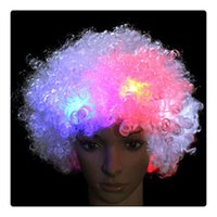 Atacado Fancy LED Light Curly HairWigs Halloween Costume Party Supplies Novo HairWig Cosplay Unisex Clown Mask Christmas Gift Free DHL