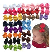 "Wholesale Small Grosgrain Hair Bows - Baby Girls 3"" Grosgrain Ribbon Boutique Hair Bows Small sharp clip Pack Of 30pcs Kids Hairpin A067-2"