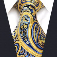 Wholesale Navy Green Tie - U13 Paisley Orange Blue Navy Mens Necktie Ties 100% Silk Jacquard Woven