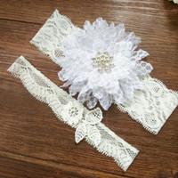Wholesale White Bridal Stretch Lace - 1 Set Wedding garter Lace garter set with diamon bridal garter vintage lace stretch White chiffon flower toss garter
