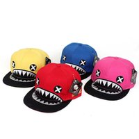 Wholesale Tooth Snapback - New Fashion sun caps shark teeth snapback outdoors unisex active hip hop hats autumn and summer