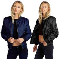chaquetas del ejército para mujer al por mayor-Venta caliente Womens Bomber Chaquetas Negro / Army Baseball Jacket Coat Mujer Salvaje Cremallera Corta Jaqueta Sports Outwear KF5338