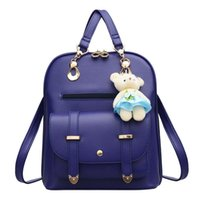 ayı marka çantası toptan satış-Sonbahar Mini Sırt Çantası Ünlü Markalar Yeni PU Deri Tasarımcı Ayı Kolye Kızlar Popüler Omuz Çantası Yumuşak Geri Okul kadın Sırt Çantaları