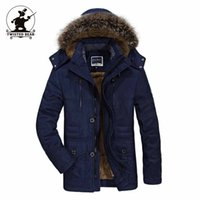 Wholesale Thick Lined Fleece Coat - Wholesale- High Quality Brand Casual Cotton Lined Jacket Thickening New Fashion Winter Jacket Men Fleece Warm Coat Parkas M~6XL C16E7176