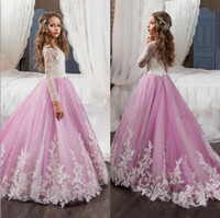 Wholesale Communion Dress Line Elegant - Elegant Long Sleeves Flower Girls Dresses For Weddings 2017 Jewel Lace Appliques Pageant Dress for Girls Child Formal Wear Gowns