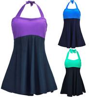Wholesale hottest plus size swimwear online - 2017 Hot Summer Sexy Women One Piece Solid Dress Swimsuits Stripe Padded Halter Skirt Swimwear Bathing suit Plus size M XL