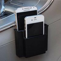 Wholesale Cell Phone Storage Boxes - Wholesale-Multifunctional Black Car Cell Phone Holder Black Mobile Phone Charge Box Holder Pocket Car Seat Bag Storage Organizer