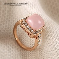 Doce!!! Rose Gold Color de alta qualidade rosa Opal Rhinestones Inlay Retro Lady Finger Ring