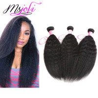 Wholesale Human Yaki - Malaysian virgin human hair unprocessed hair kinky straight yaki natural color three bundles 3pics lot queen hair double weft from msjoli