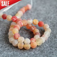 Novo para acessórios NecklaceBracelet 8mm Stripe Red Natural Frosted Agate Beads Round Jasper jade Loose carnelian Jewelry
