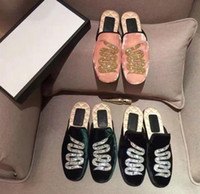 Wholesale Slippers Set Mop - single shoe bag head half dragged and sets foot lazy shoes suede snake embroidered fashion casual slipper mjuer flats heel