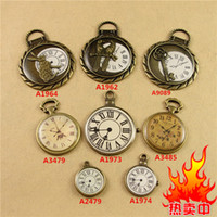 Wholesale Diy Charms Bunny - DIY accessories retro Japanese popular chip bunny rabbit dragonfly key enamel clock charms, new big round animal enamel pocket watch pendant