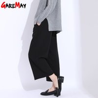 Wholesale Loose Trousers For Women - Wide Leg Pants For Women Black Elastic Waist Pants Loose Large Size Summer Wide Trousers Ladies Pantalon Ancho Mujer GAREMAY