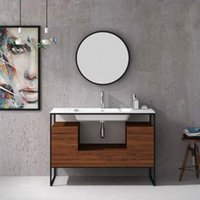 Compra Solidi Di Commercializzazione-Moderne unità di design up-market da 1200mm preassemblate in fabbrica Tecnica di chiusura morbida Solid Surface Stone Basin Wall Hung Vanity 2702