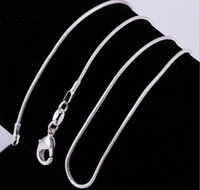 Wholesale Men Necklace 1mm - NEC001 2016 silver necklace 16 18 20 22 24 inches Lobster Clasp silver 1MM snake chain necklace for women men