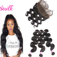 Wholesale Hair Colour Cheap - Cheap Mink Brazilian Hair With Frontal Body Wave Virgin Hair Weft 3Bundles With Closure So Silk Hair Natural Colour 1B Humanhair