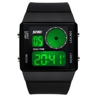 Wholesale Colorful Display Watch - 2017 SKMEI Mens Womens Summer Outdoor Sports Waterproof Colorful LED Digital Watches Dual Time Fashion Classic Wristwatches Brands Best