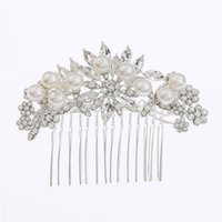 Wholesale Rhinestone Alloy Comb Hair Accessories - Hair Combs Imitation Pearl Flower Party Wedding Hair Accessories Rhinestone Wedding Bridal Prom Evening Party Headpiece Size 8.5*6cm