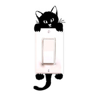 Wholesale Vinyl Wall Decals Animals - Kitty Cat light switch sticker Cartoon Decor Decals Children Baby Nursery Room doorknot light Stickers Paper 2016 hot sale