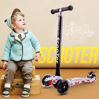 Wholesale Scooters For Kids Wholesale - 3 Wheel T-Bar Kids Mini Skateboards Height Handle Kick Self Balance Scooters With Max Glider Deluxe PU Flashing Wheels Scooters For Children