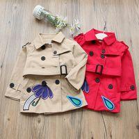 Wholesale Umbrella Jacket - HOT Kids Outwear Girls Coats Children Trench Coats jackets Raindrops Rainbow umbrella Girl Double-breasted Coats Khaki Red A7438