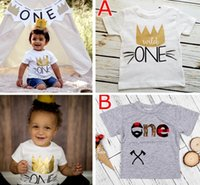 "Wholesale Tshirt Babies - INS Xmas ""Wild one"" letter print infant tshirt New Kids Baby Girls Summer Fashion 100% Cotton Short sleeve Letter Print T-shirt Tops Clothes"