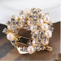 Wholesale Bow Diamond Brooch - Korea Fashion Bow Brooch Pin Diamond Marry Celebrate Multipurpose Pearl Crystal Lovely Brooch