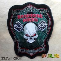 ingrosso twill patch-Ricamo twill Patch per Jacket Back Motorcycle Biker punk rock cranio moto Big Size ENORME 23,7 * 29cm
