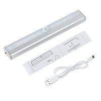 dolap dolabı açtı toptan satış-Closet, Kabine, Kiler, Sayaç için USB Şarj edilebilir LED Hareket Sensörü Gece Işığı 10pcs Led 200LM Vücut İndüksiyon Acil Lambası