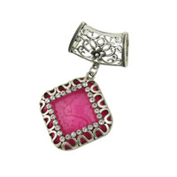 Wholesale Scarf Silver Tube - Pupular Pendants Flower Tube Women Scarf and Necklace Pendant Jewelry Findings Chaims Silver Alloy With Colorful Square Resin Pendant