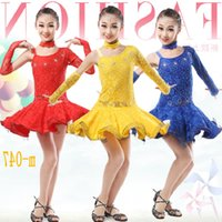 Wholesale Latin Dresses For Children - dans girls lace latin dance dress skirt competition dresses kids ballroom dresses for tango samba costumes dancewear children