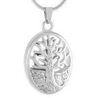 Wholesale Memory Life - IJD9343 Oval Tree of Life Stainless Steel Cremation Pendant Necklace Funeral Casket Memory Ashes Keepsake Urn Necklace