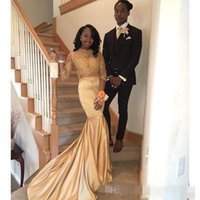 Wholesale Blue American Prom Dress - Stunning Gold Sweep Train Prom Dresses 2K17 Fashion African Americans Long Sleeves Party Evening Gowns See Through Appliques Stretch Satin