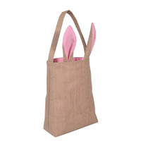 Wholesale Unique Totes - Easter Bags Unique Design Easter Tote Cute Handbag Bunny Bag With Bunny Ears Easter Tote Festival Party Gift Bag High Quality Burlap Tote