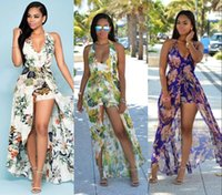 Wholesale Halter Backless Bohemian Dresses - New Design Bohemian Maxi Rompers Summer Dresses For Women 2018 Halter Neck Plus Size Printed Chiffon Dresses Sexy Backless Split FS1497