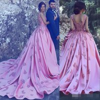 Wholesale Navy Blue Romantic Evening Dress - Gorgeous Pink Prom Dresses Long Sweetheart Lace Appliques Romantic Bridal Gowns Satin A Line Long Train Celebrity Formal Evening Dress