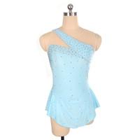 blau wettbewerb eislaufen kleider groihandel-Special Design Ausschnitt Baby Blau Perlen Wettbewerb Kleid Eislaufen Neueste Kollektion Sleeveless Eis Kleid Freies Verschiffen