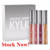 Wholesale Lipsticks For Cheap - Cheap Kylie Holiday Edition Kit 4pcs Matte Liquid Lipstick Lip Gloss Lipsticks Makeup Matte Lipstick Collection Set for Christmas Gift