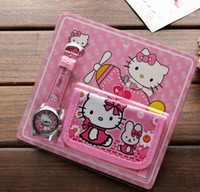 Wholesale Watch Kids Kitty - Wholesale lot Hello Kitty kids Sets watch and wallet purse wrist quartz Christmas Children gift Boys Girls Cartoon watches